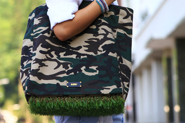 Green Camouflage Grassy Tote bag for smart casual outfits - GLUSH/ - 7