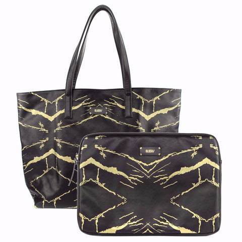 HARD RAYS BLACK GOLD Tote + Laptop Case Set - GLUSH/ - 1