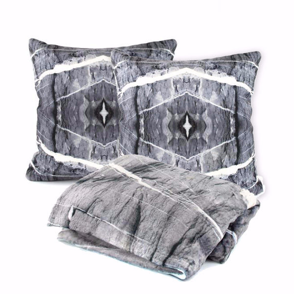 HARD RAYS GREY Pillow Case + Throw Blanket Set - GLUSH/ - 1