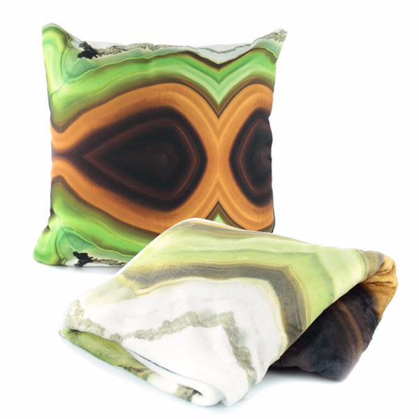 Green agate stone pattern Pillow Case and Throw Blanket Set - GLUSH/ - 1