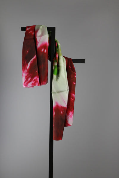 Square Silk Scarf - Red Flower