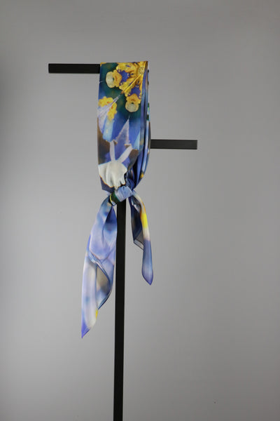 Square Silk Cotton Scarf - Blue Flower