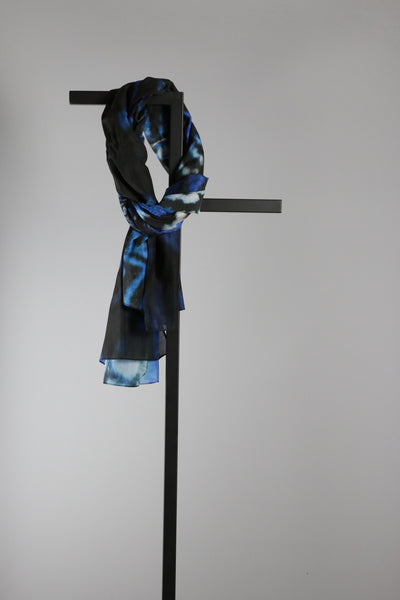 Rectangular Silk Cotton Scarf - Blue Butterfly