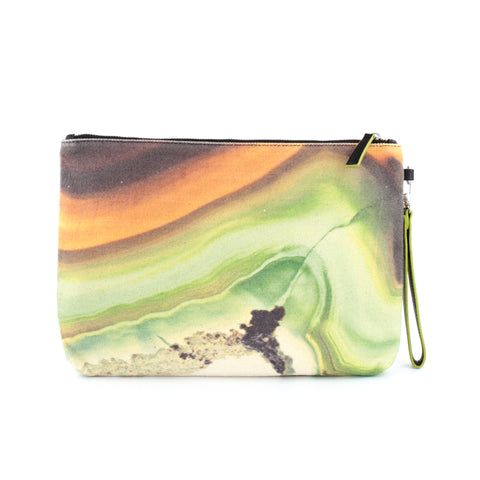 Green Agate Stone Canvas Clutch - GLUSH/ - 1