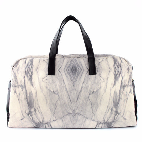 Unisex white marble travel bag for him and her, designed by GLUSH/ with love.