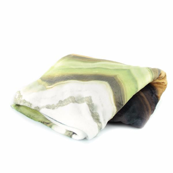 HARD SWIRLS GREEN Pillow Case + Throw Blanket Set - GLUSH/ - 4