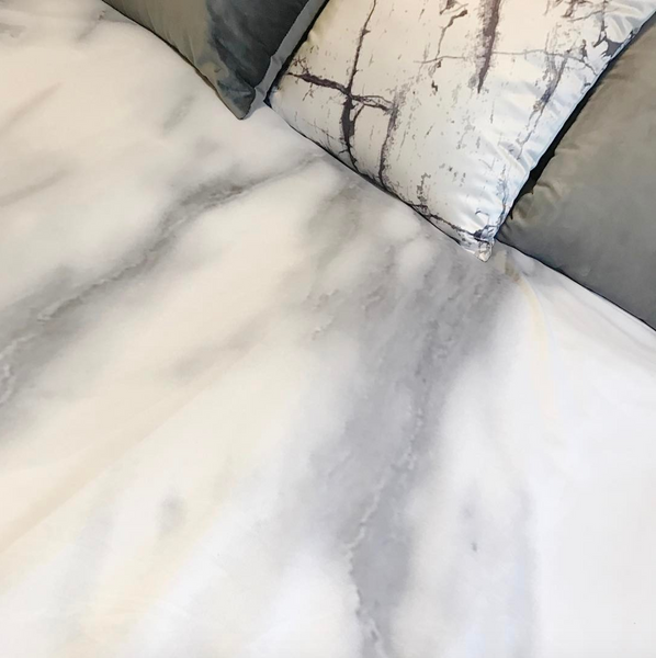 Hard Rays White Marble Duvet Cover