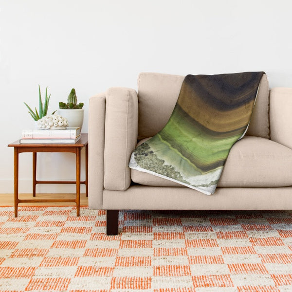 HARD SWIRLS GREEN THROW BLANKET - GLUSH/ - 6