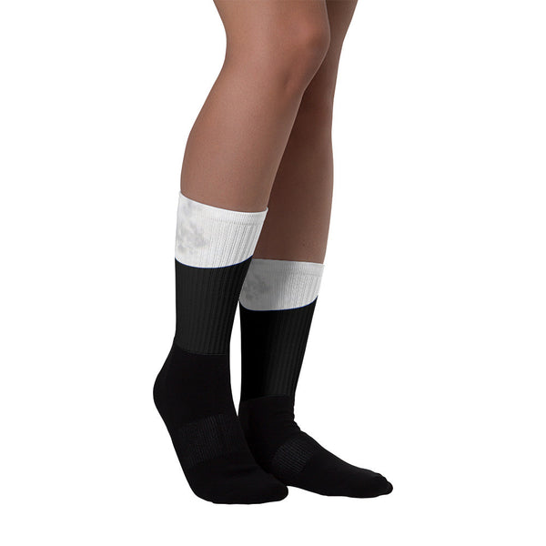 Cute black and white Super Moon socks for him and her - GLUSH/