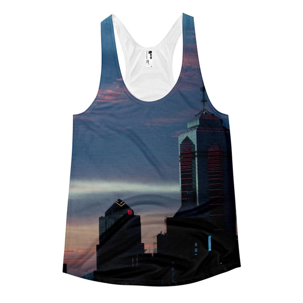 Blue HK Skyline Women's racerback tank top - GLUSH/ - 1