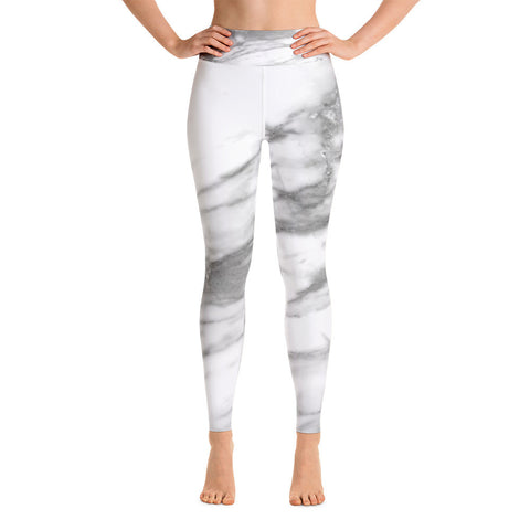 White Marble Yoga Leggings