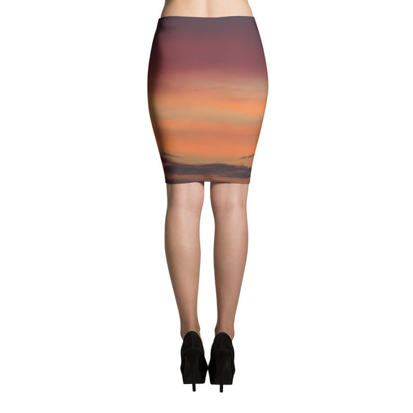 Orange and purple abstract gradient Pencil Skirt - GLUSH/ - 2