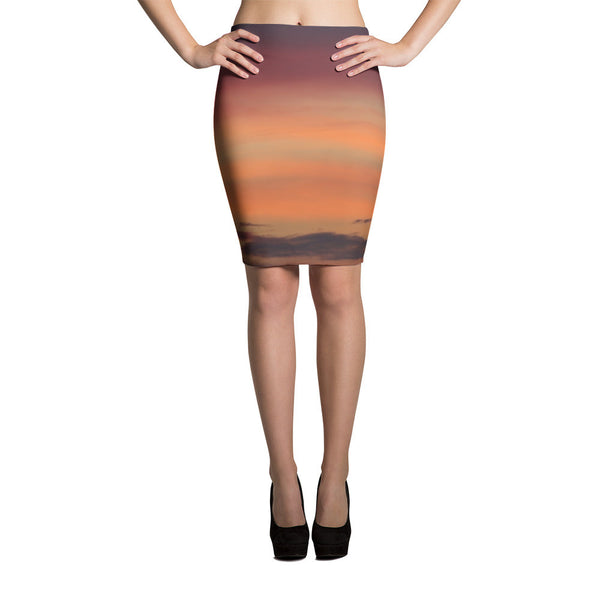 Elastic orange ombre pencil skirt by GLUSH