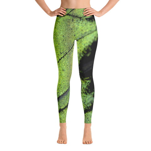 Green Butterfly Yoga Leggings