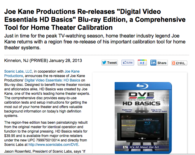Joe Kane's DVE HD Basics is officially re-released today  Just in time