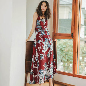 Floral Print Band Bohemian Dress Sleeveless