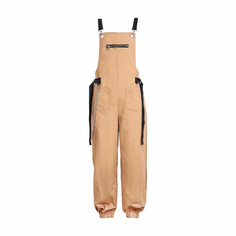 Khaki Patchwork Casual Overalls