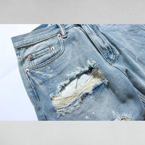 Ripped Destroyed Distressed Denim Shorts