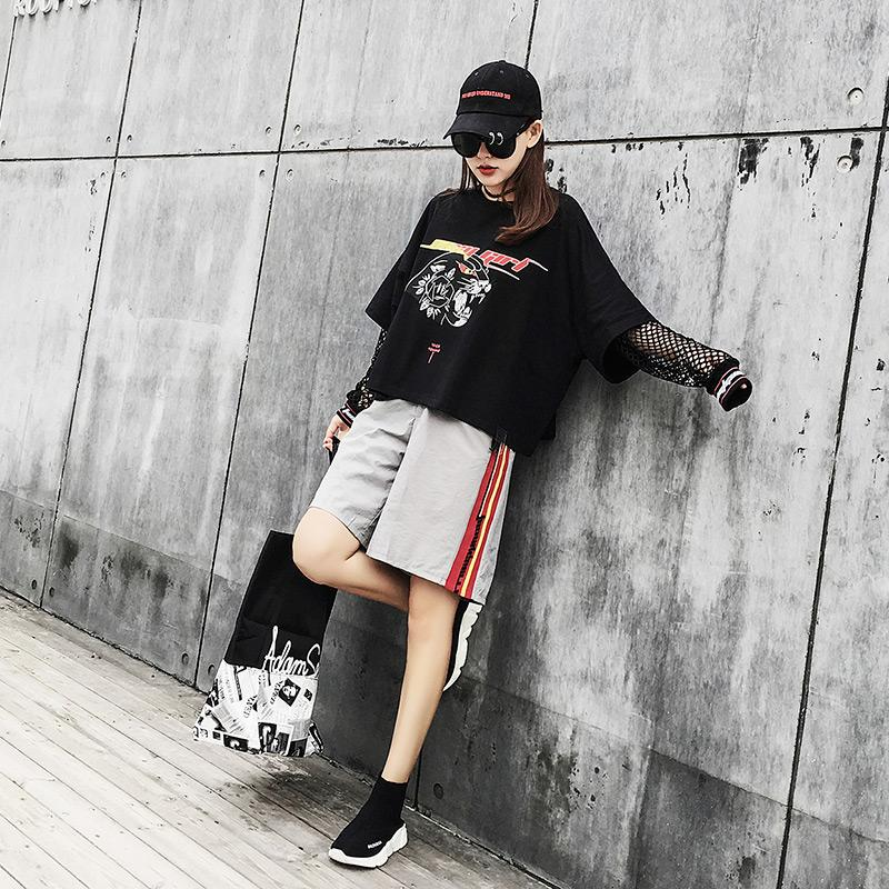 Mesh Hollow Out Patchwork Letter Leopard Print Long Sleeve T-shirt