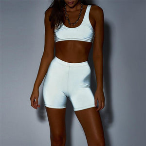 REFLECTIVE CROP BIKINI TOP SHORTS SET