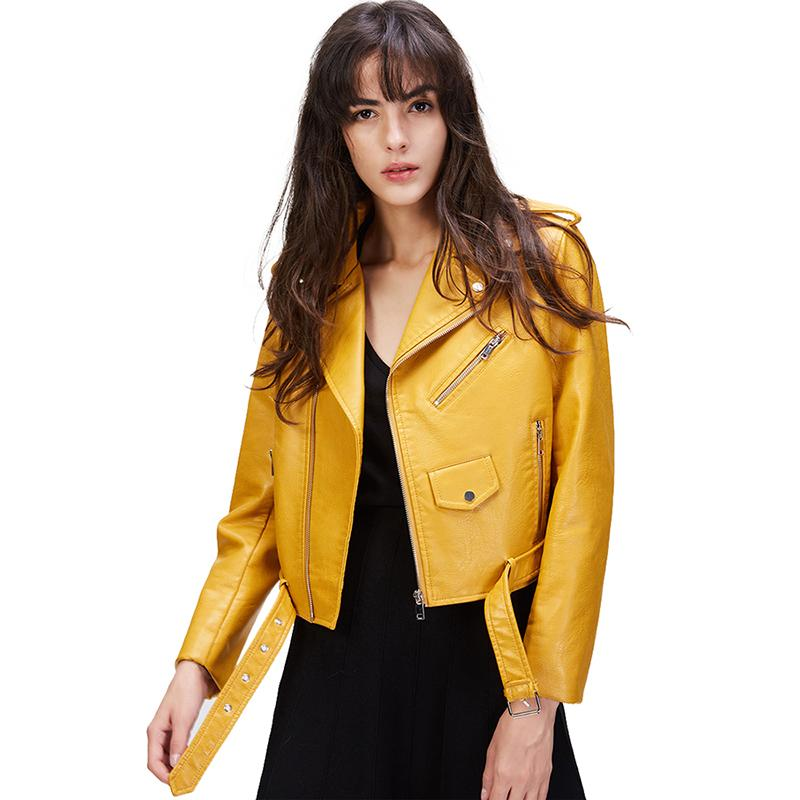 Fashion Street Women's Short Washed PU Leather Jacket Zipper Bright Colors