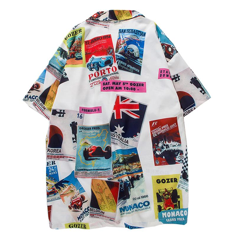 Vintage Printed Turn-down Collar Shirt