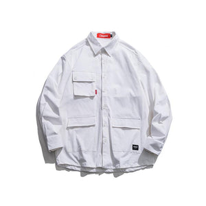 Multi Pocket Turn Down Collar Shirts