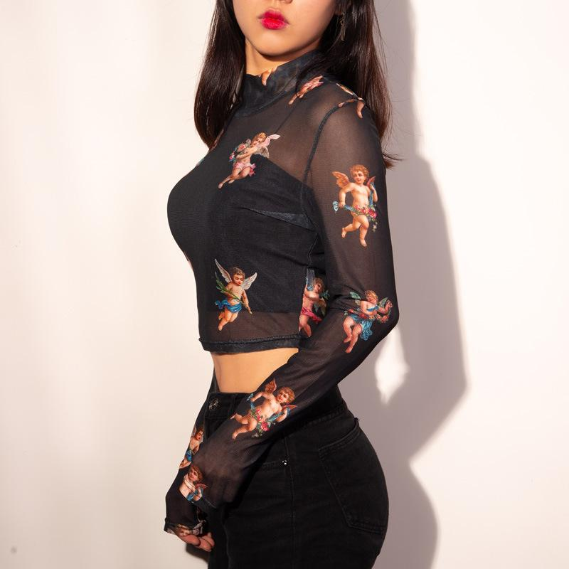 Cupid Retro Mesh Turtleneck Crop Top