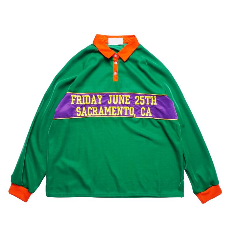 Embroidery Letter Paneled Turn-down Collar Sweatshirts