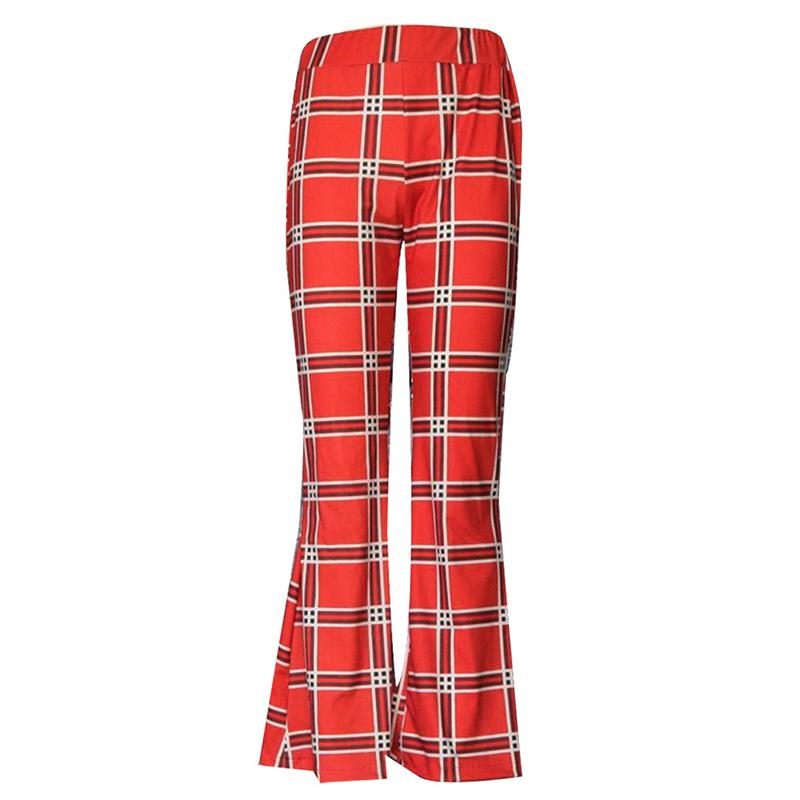 Glamaker Knitted Plaid Flare Pants