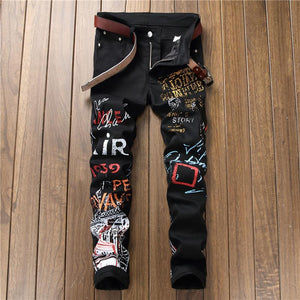Letters Pattern Printed Black Jeans
