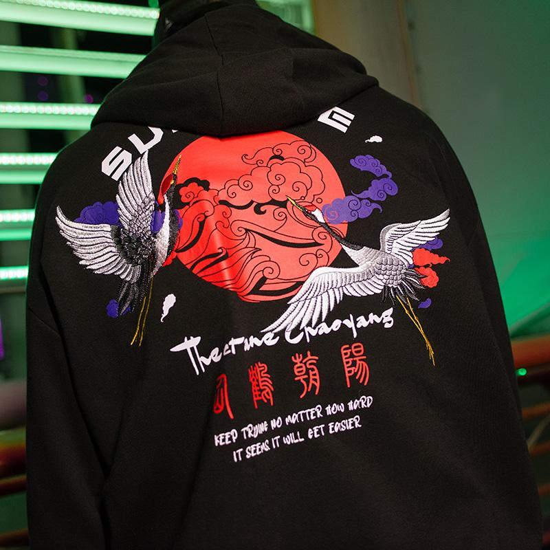 Embroidery  Crane Hoodies