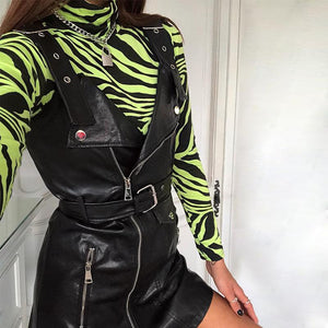 Zebra Print Turtleneck Long Sleeve Body Suit Tops