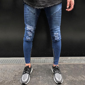 Skinny Motorcycle Denim Pants
