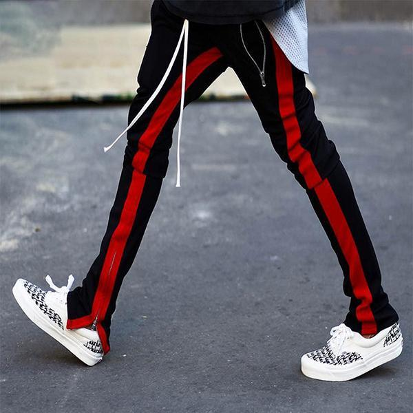 2018 Men Side Band Zipper Low Cord Pants Streetwear Jogger