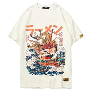 Japanese Harajuku Noodle Ship Cartoon T-Shirt