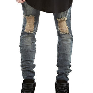 Slim Fit Destroyed Torn Jean Pants