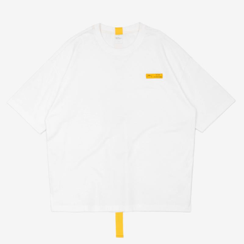 Lettering Yellow Long Ribbon Brand T-shirt