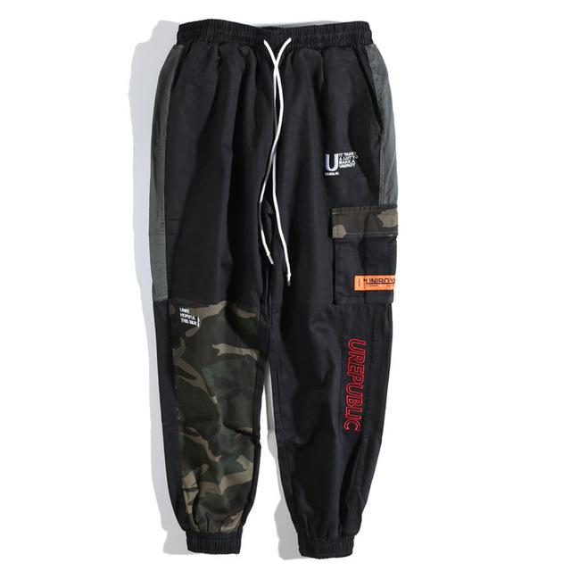 Camouflage Patchwork Side Pocket Cargo Harem Pants
