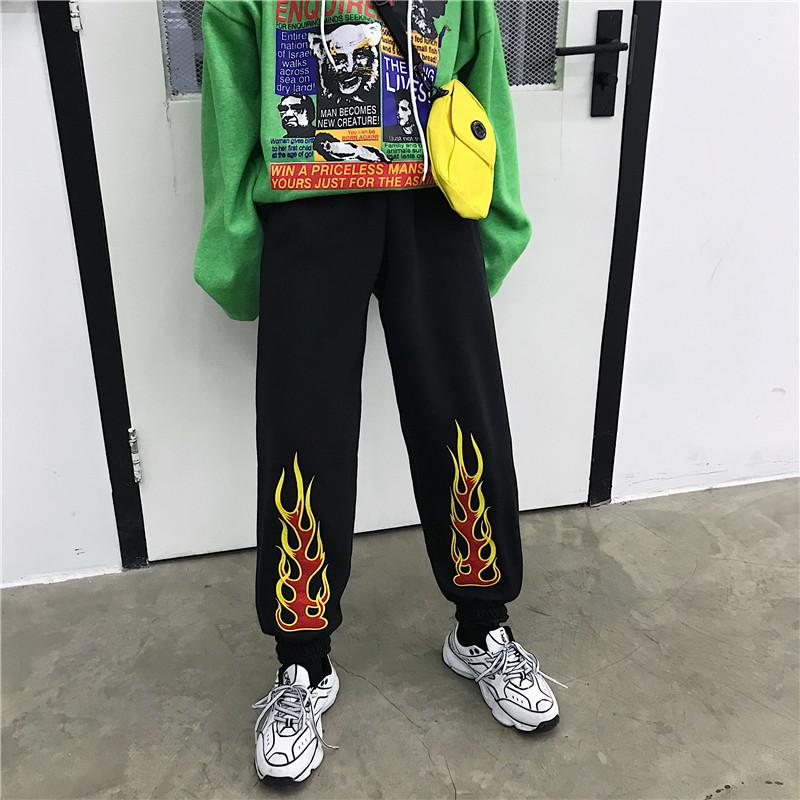 Warm Vintage Flame Embroidery Hip Hop Pants
