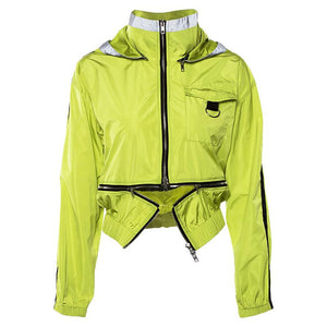 Neon Green Zipper Splice Hooded Jacket