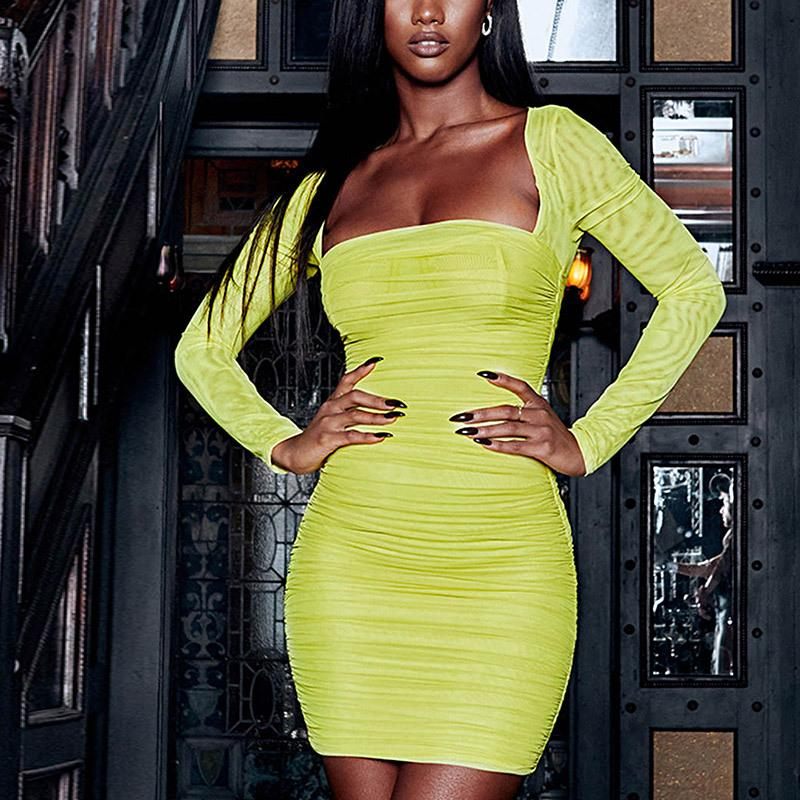 Neon Yellow Mesh Bodycon Dress