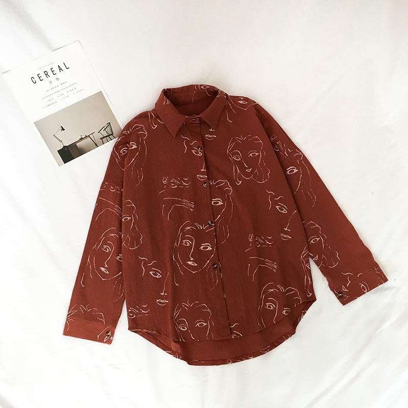 Korean Fashion Lovely Face Printing Blouse