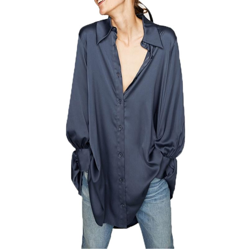 Spring Woman Blue Satin Shirt