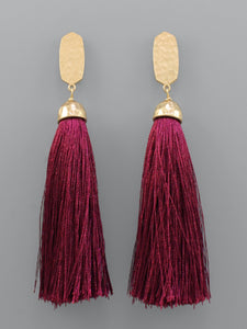 Hexagon Magenta Tassel Earrings