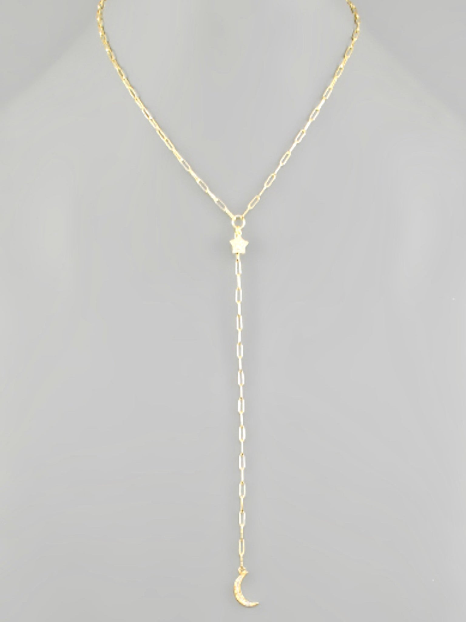 CZ Star & Moon Y Necklace Gold
