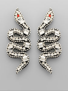 Clear Paved Snake Earrings
