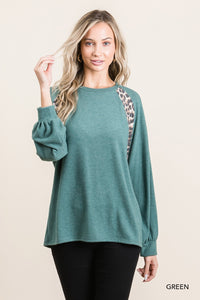 Green Brushed Leopard L/S