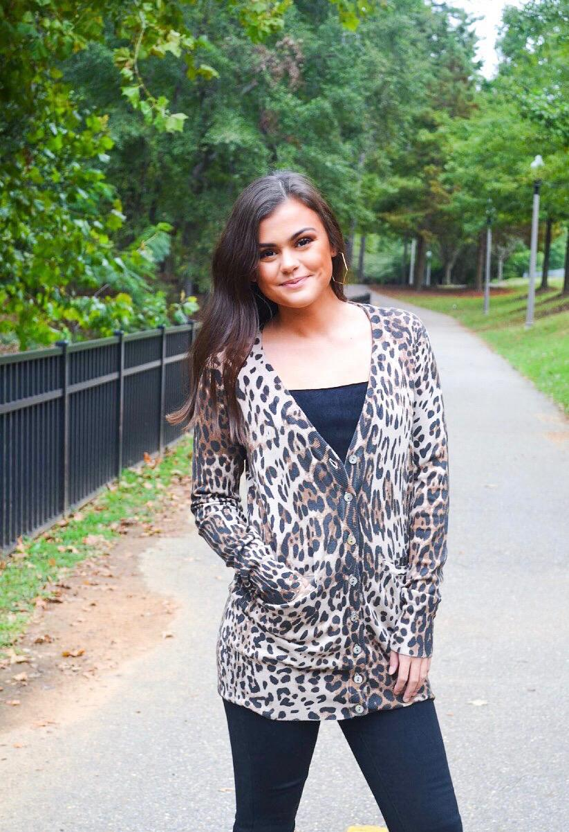 Cheetah Long Knit Cardi - Vintage Cotton Boutique