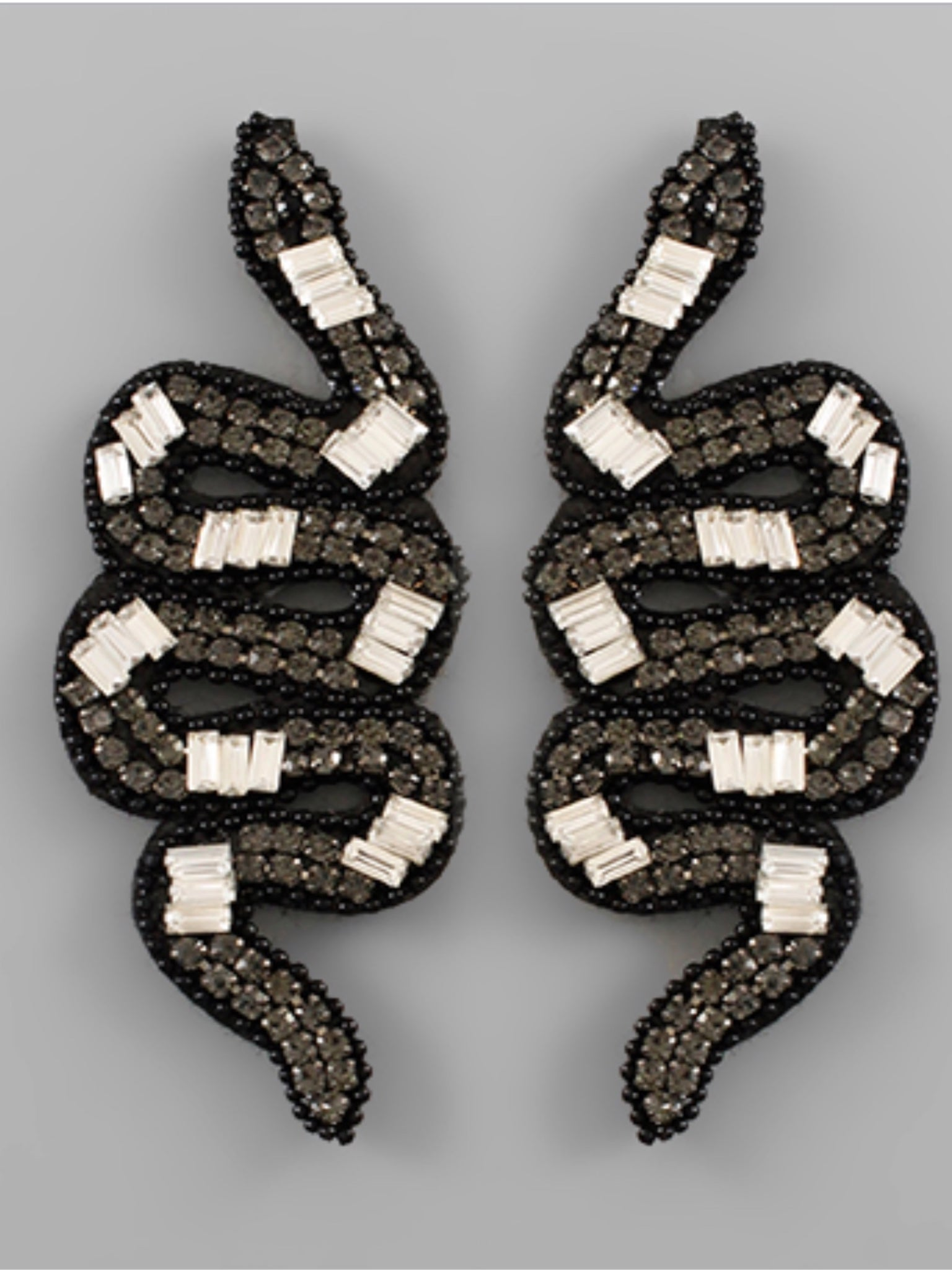 Paved Snake Earrings Black Diamond